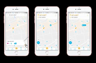 L'application lui propose un trajet alternatif en prenant le bus. Il accepte. // L'application Vianavigo le guide dès sa sortie du RER jusqu'à la station de bus grâce à la géolocalisation de son emplacement en temps réel.